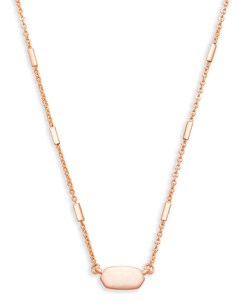 Fern Pendant Necklace In Rose Gold