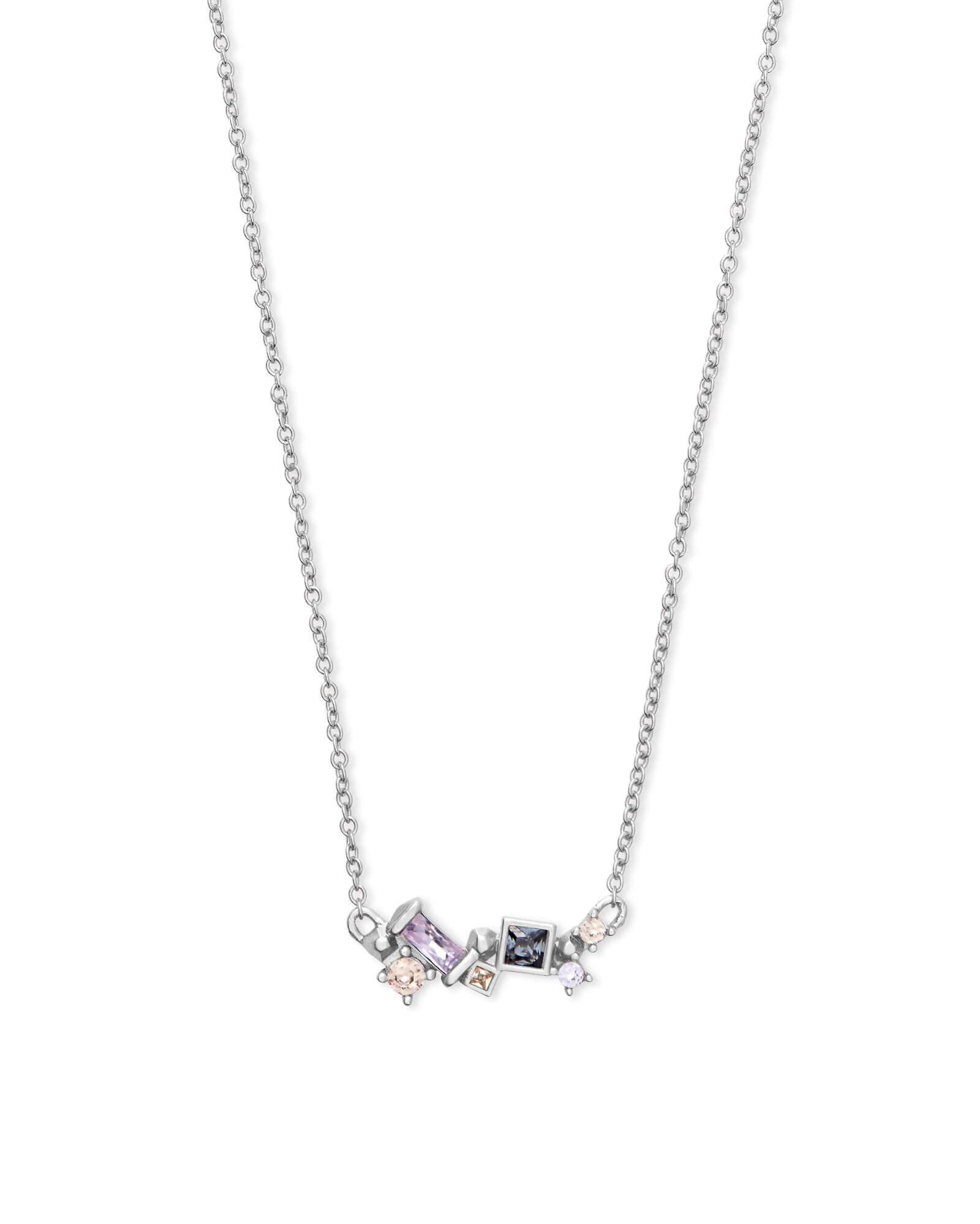 Gunner Silver Pendant Necklace in Lilac Mix