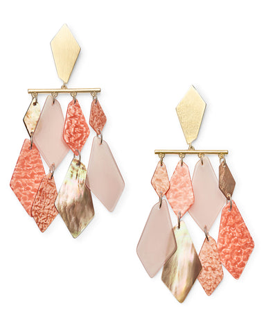 Didi Gold Statement Earrings in Peach Pearl