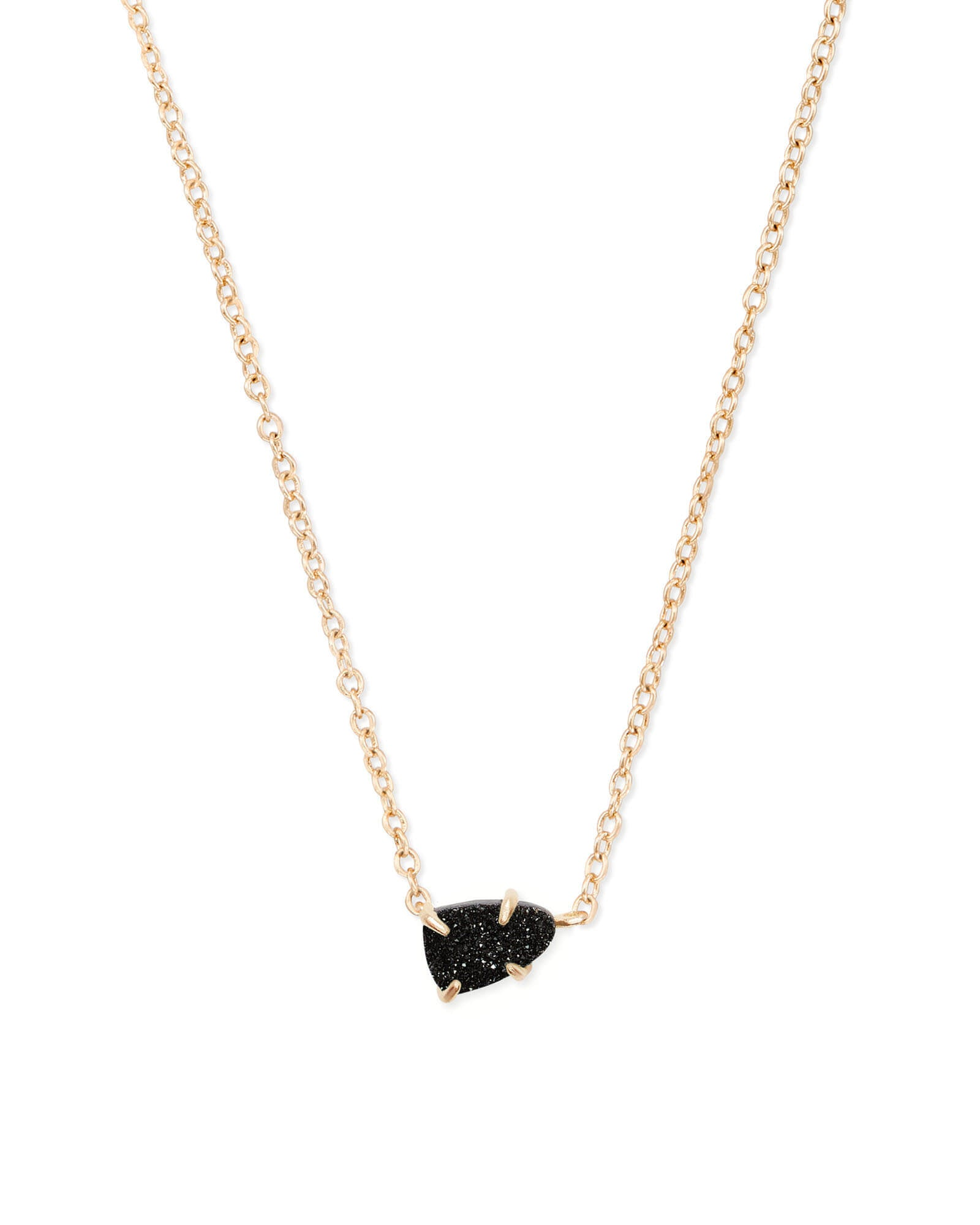 Helga Gold Pendant Necklace in Black Drusy