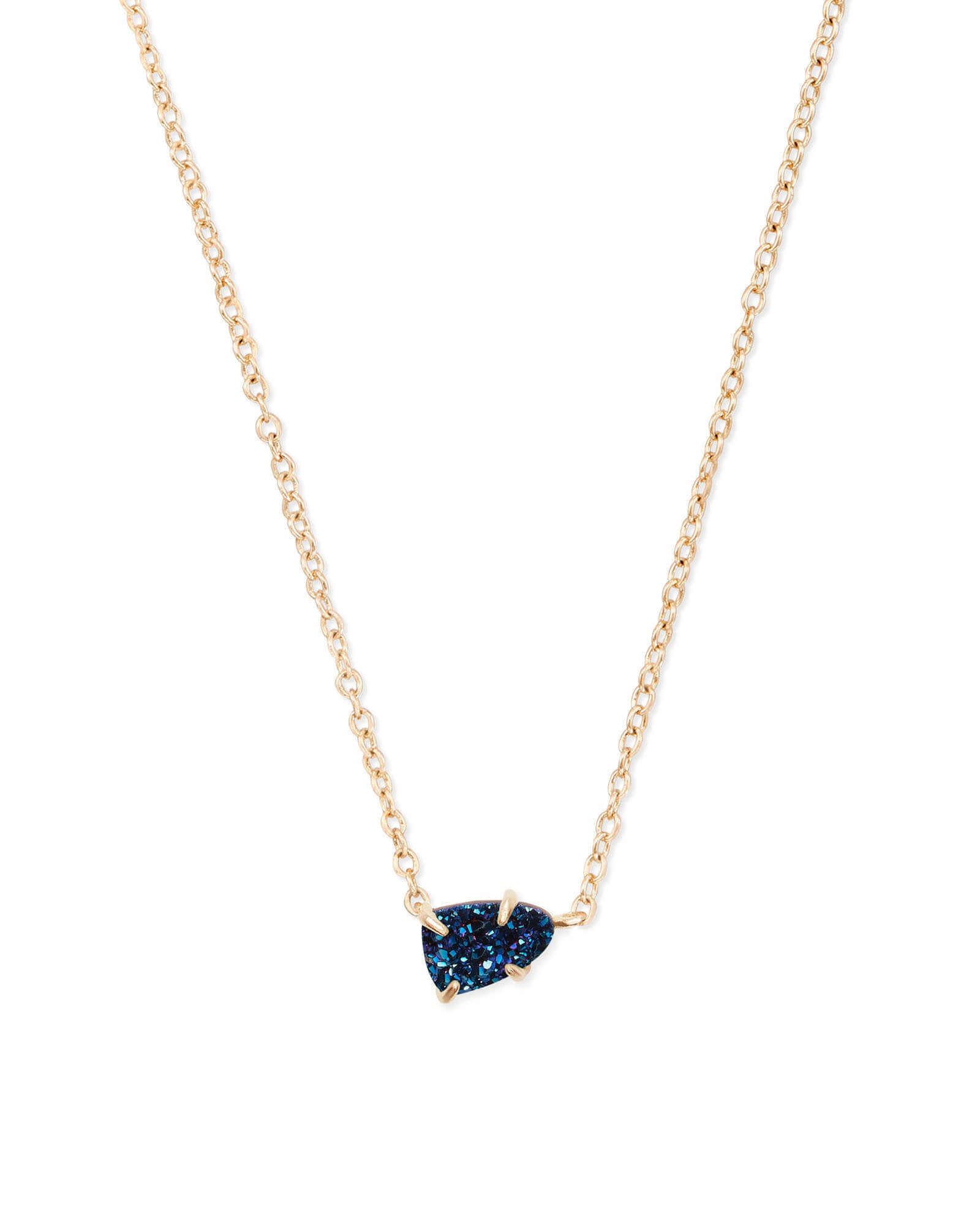 Helga Gold Pendant Necklace in Blue Drusy
