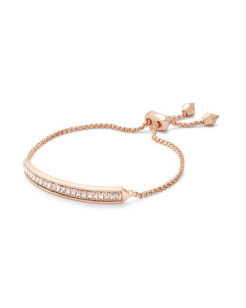 Jack Rose Gold Chain Bracelet in Blush Crystal