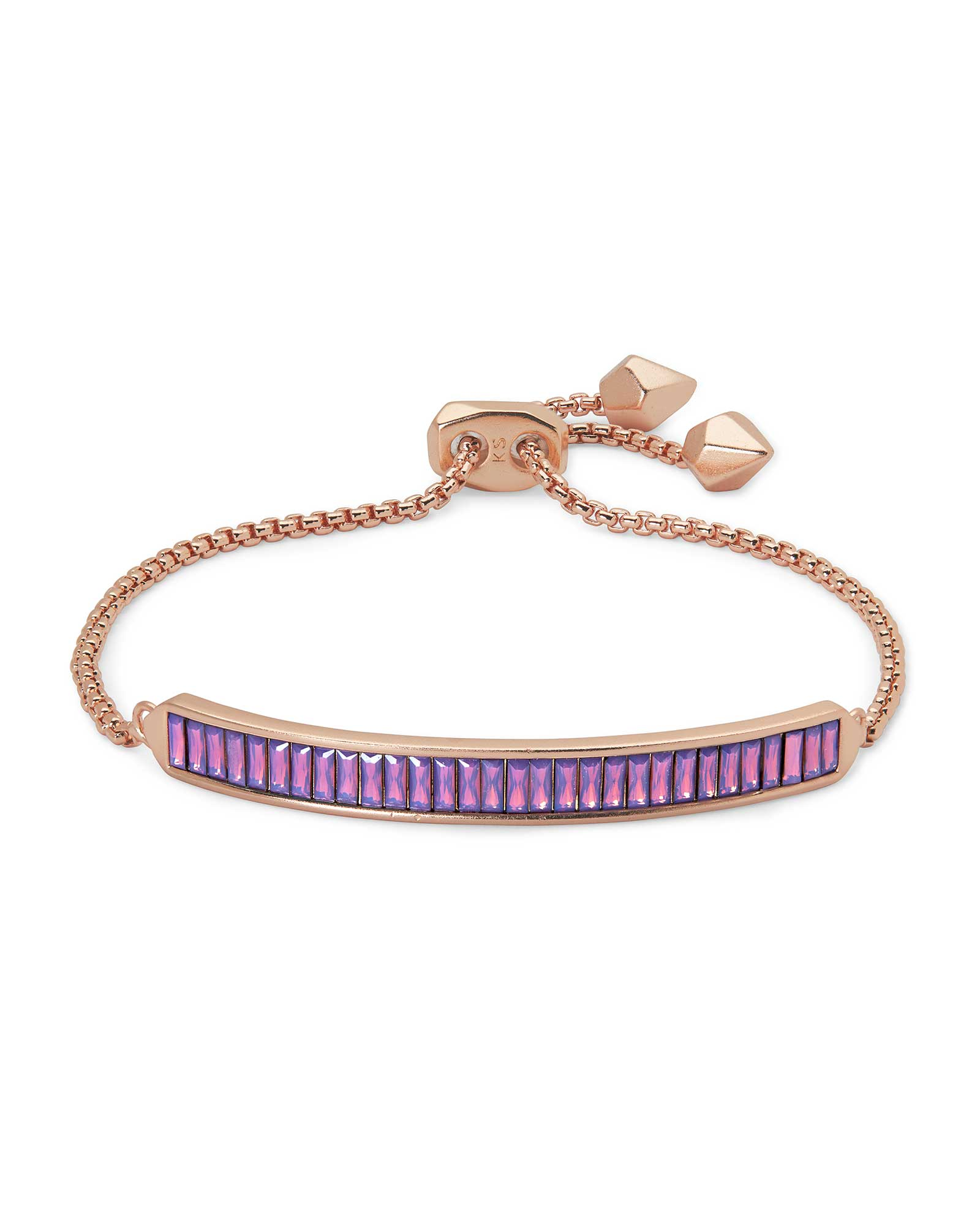 Jack Adjustable Rose Gold Chain Bracelet in Raspberry Crystal
