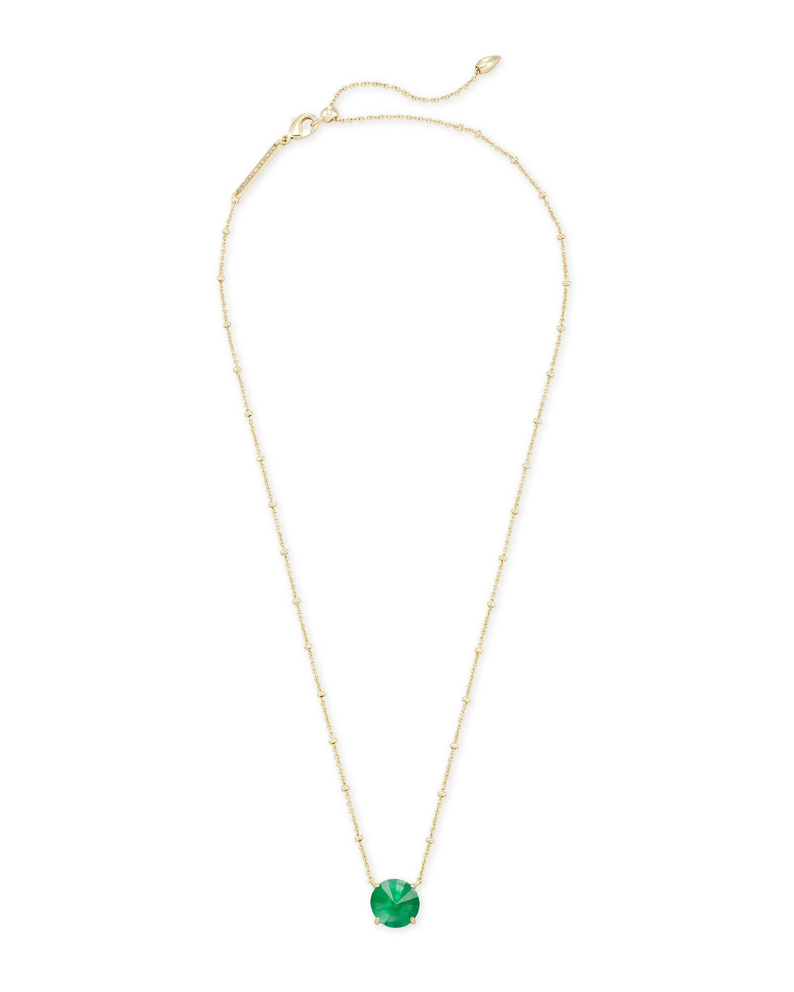 Jolie Gold Pendant Necklace in Jade Green Illusion