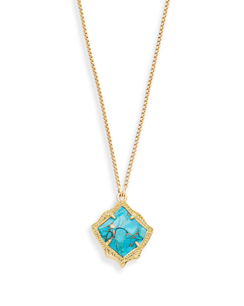 Kacey Long Pendant Necklace in Bronze Veined Turquoise