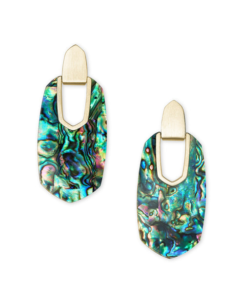 Kailyn Gold Statement Earrings in Abalone Shell