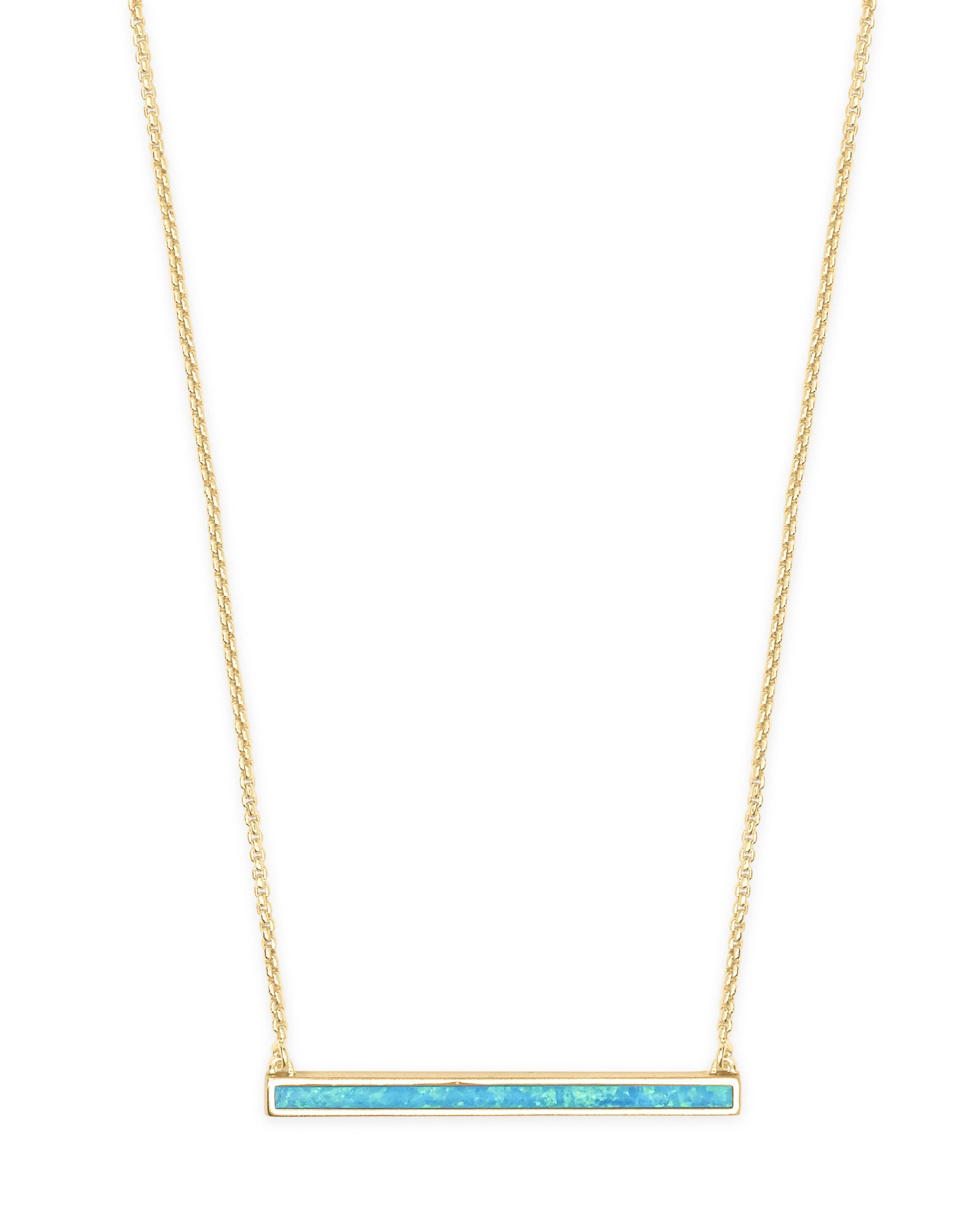 Kelsey Gold Pendant Necklace in Turquoise Kyocera Opal