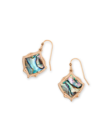 Brooklyn Rose Gold Statement Earrings in Abalone Shell