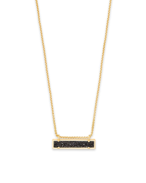 Leanor Gold Pendant Necklace in Black Drusy