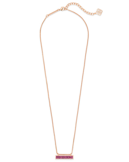 Leanor Rose Gold Pendant Necklace in Deep Fuchsia Drusy