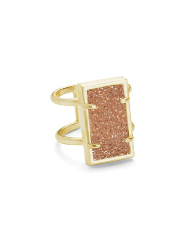 Lennox Rose Gold Ring in Deep Fuchsia Drusy - M/L