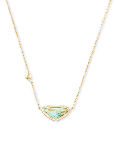 Elisa Vintage Gold Multi Strand Necklace In White Abalone