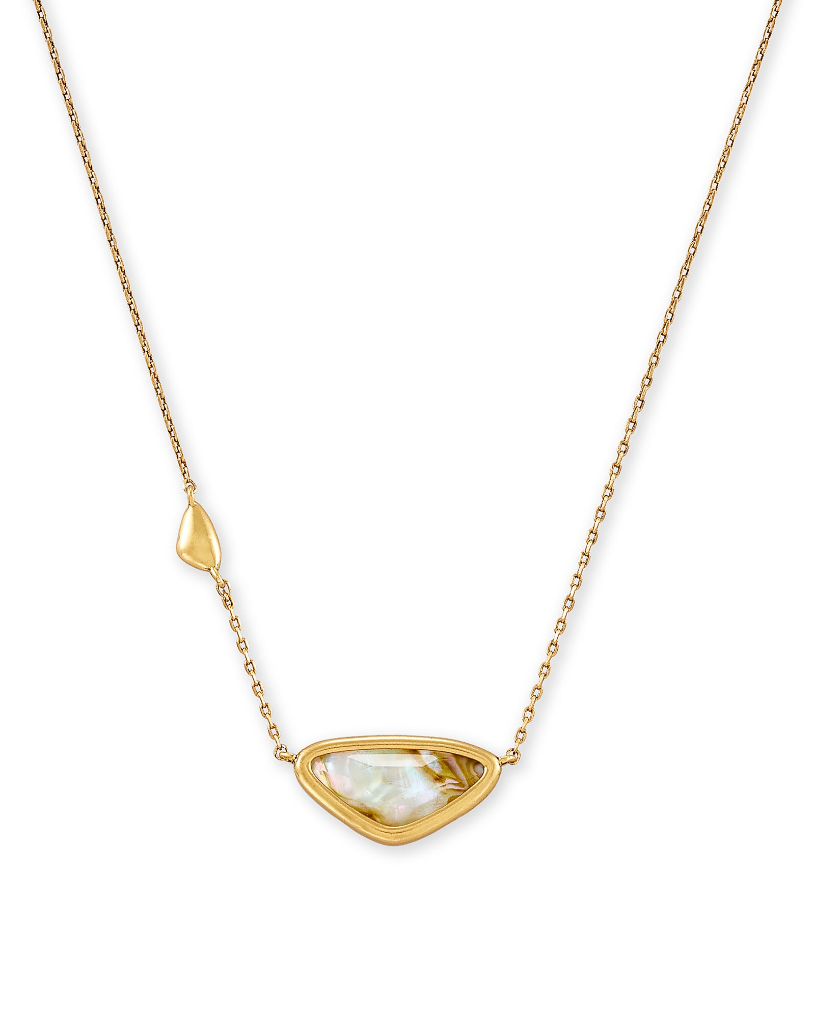 Margot Vintage Gold Pendant Necklace In White Abalone