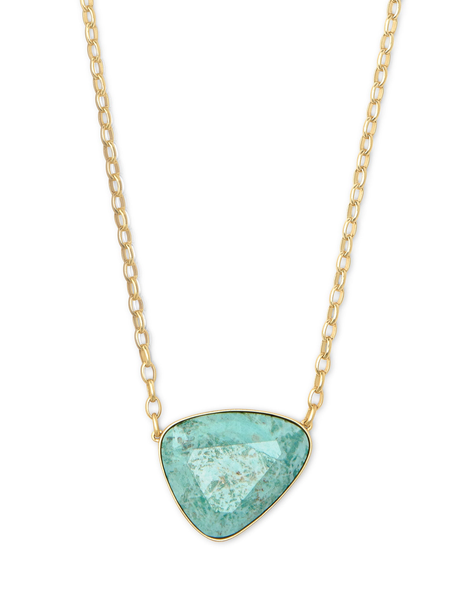 Mckenna Gold Pendant Necklace In Sea Green Chrysocolla