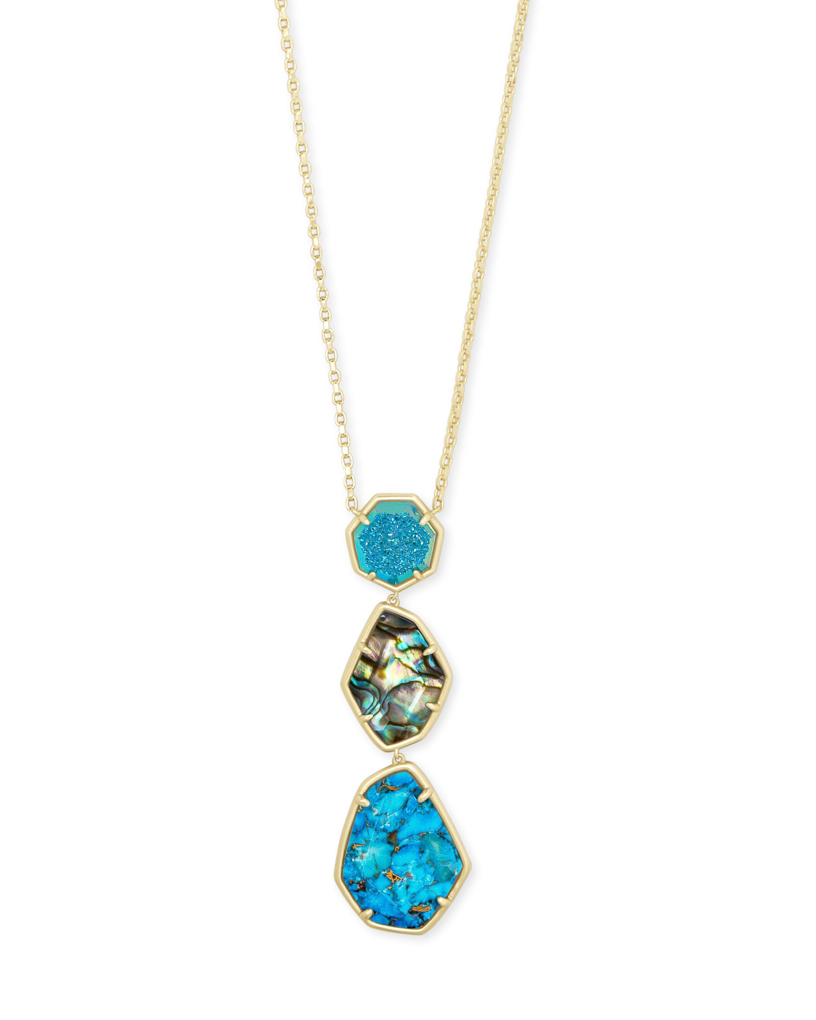 Nina Gold Long Pendant Necklace In Blue Mix