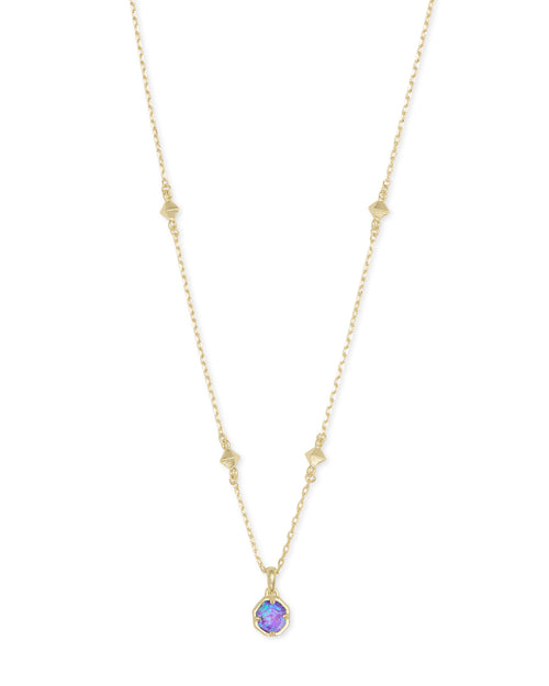 Nola Gold Pendant Necklace In Violet Kyocera Opal Illusion