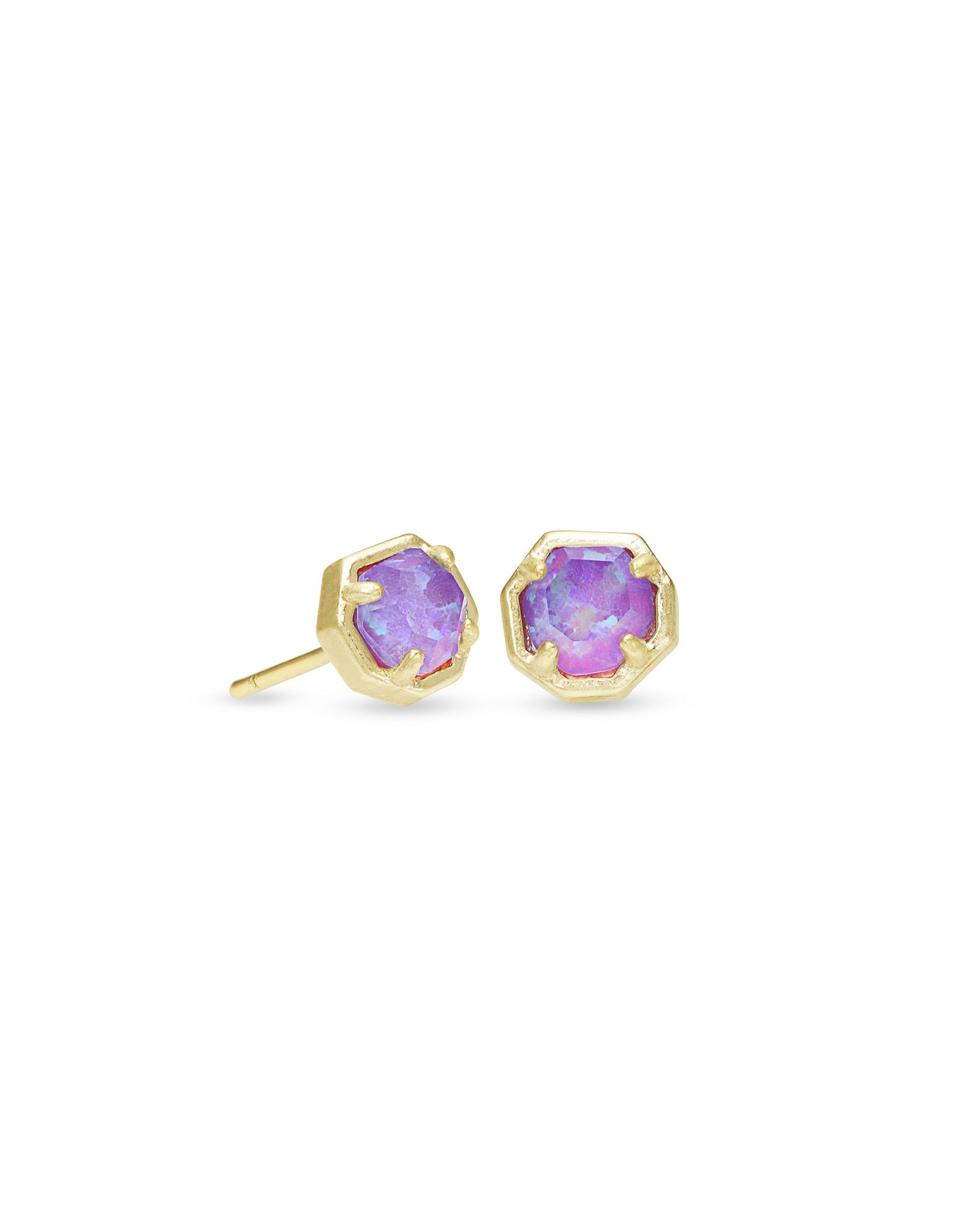 Nola Gold Stud Earrings In Violet Kyocera Opal Illusion