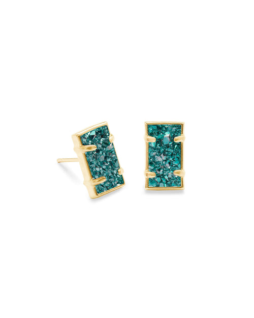 Paola Gold Stud Earrings in Aqua Drusy