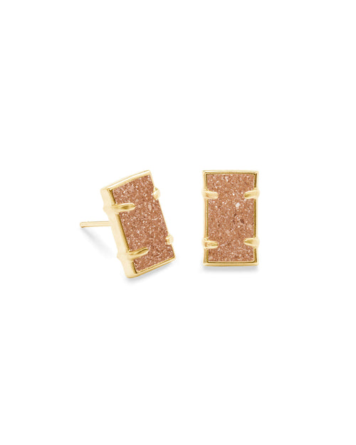 Paola Gold Stud Earrings in Sand Drusy