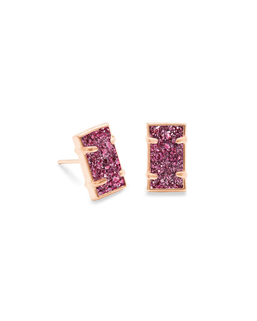 Paola Rose Gold Stud Earrings in Deep Fuchsia Drusy