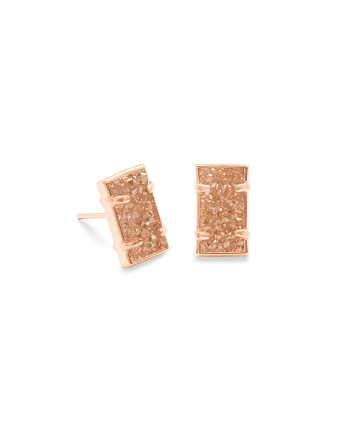 Paola Rose Gold Stud Earrings in Sand Drusy