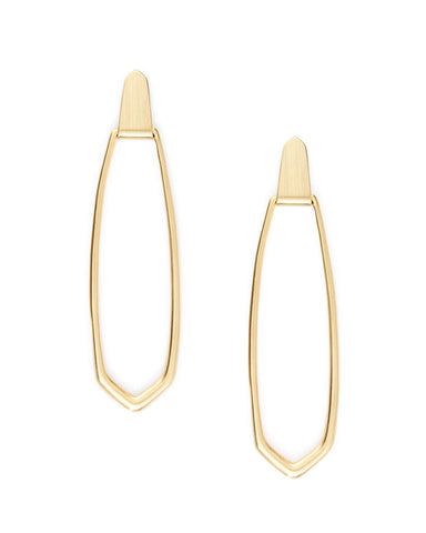 Natalie Gold Linear Earrings In Black Obsidian