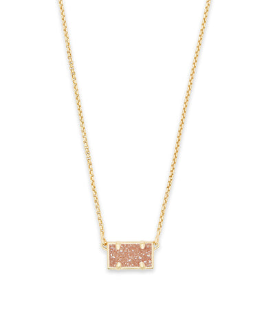 Leanor Gold Pendant Necklace in Aqua Drusy
