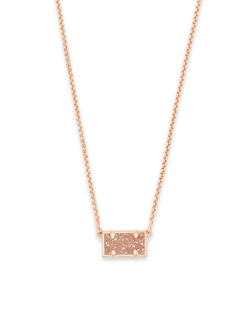Pattie Rose Gold Pendant Necklace in Sand Drusy