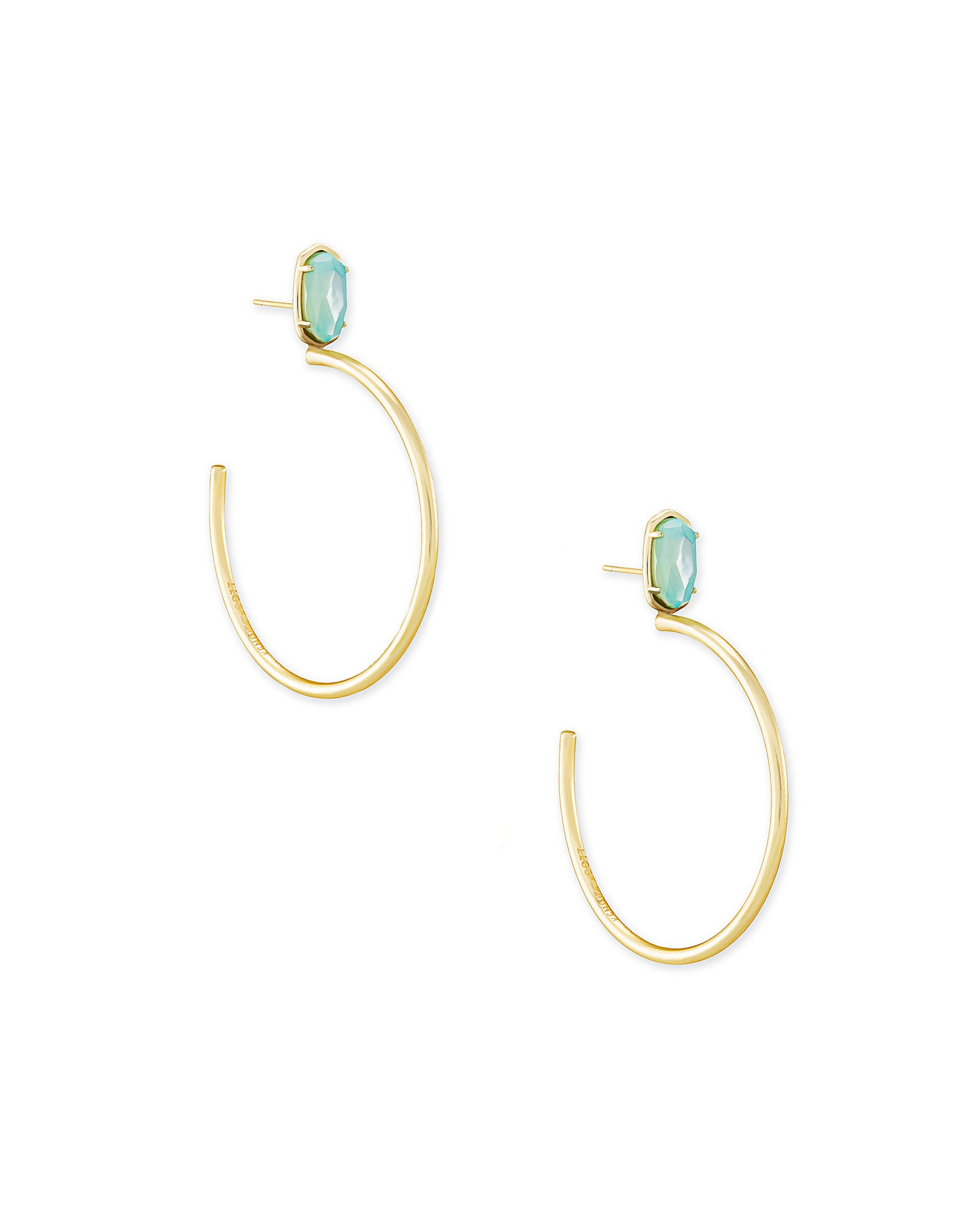 Small Pepper Gold Hoop Earrings in Aqua Illusion