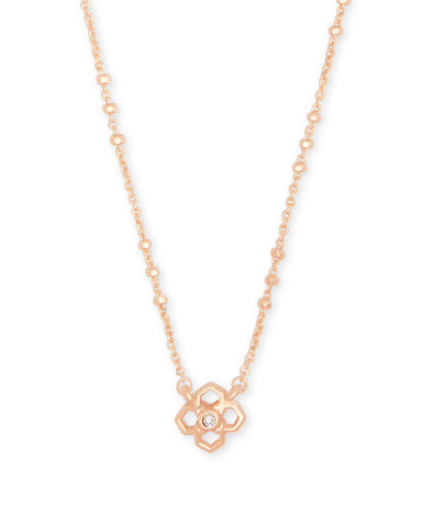 Kenzie Rose Gold Pendant Necklace In Blush Wood