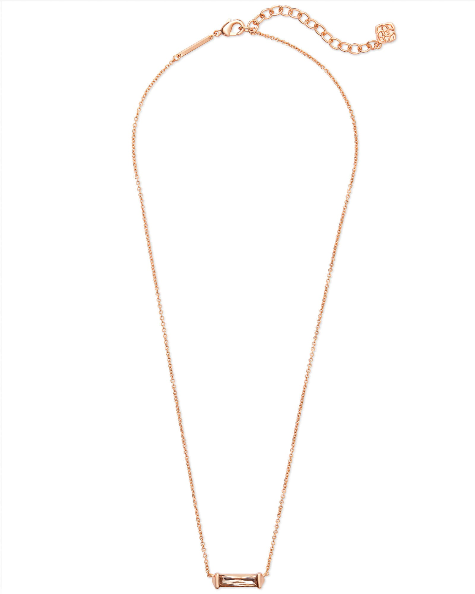 Rufus Rose Gold Pendant Necklace in Blush Crystal