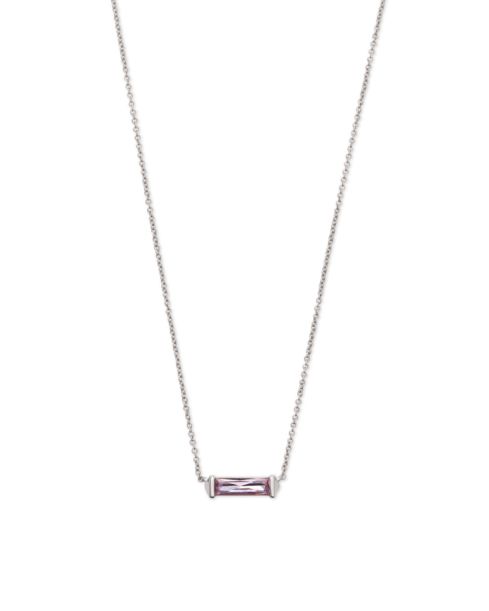 Rufus Silver Pendant Necklace in Lilac Crystal