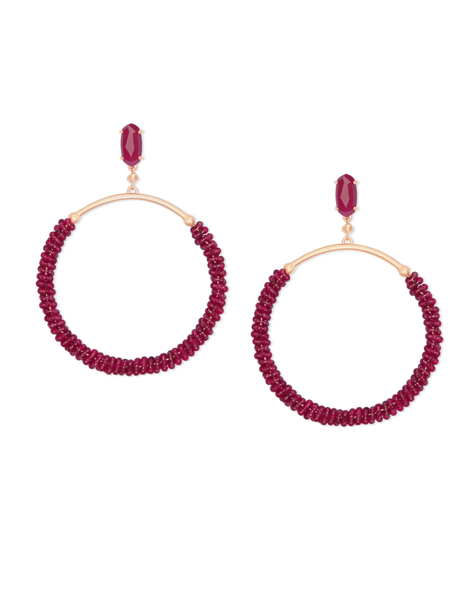 Russel Rose Gold Hoop Earrings in Maroon Jade
