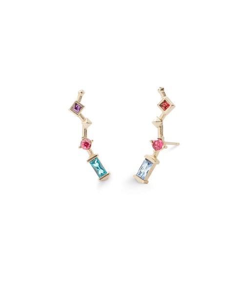 Sutton Gold Ear Climbers in Jewel Tone Mix