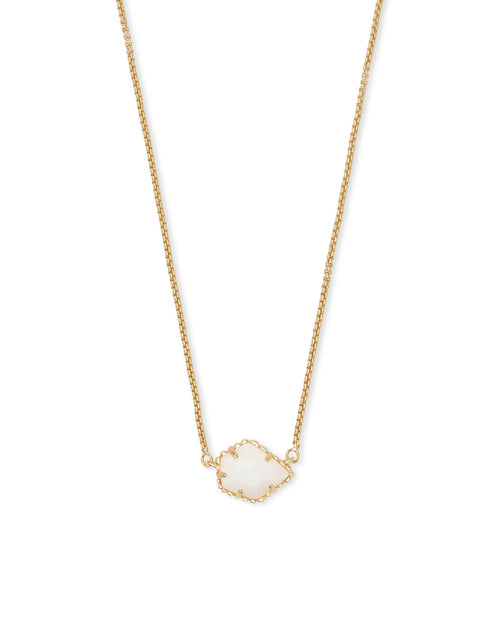 Gold Small Pendant Necklace In White Pearl