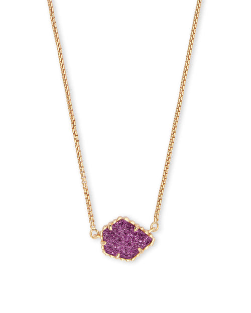 Tess Gold Pendant Necklae in Amethyst Drusy