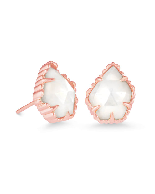 Tessa Rose Gold Stud Earrings in Ivory Pearl