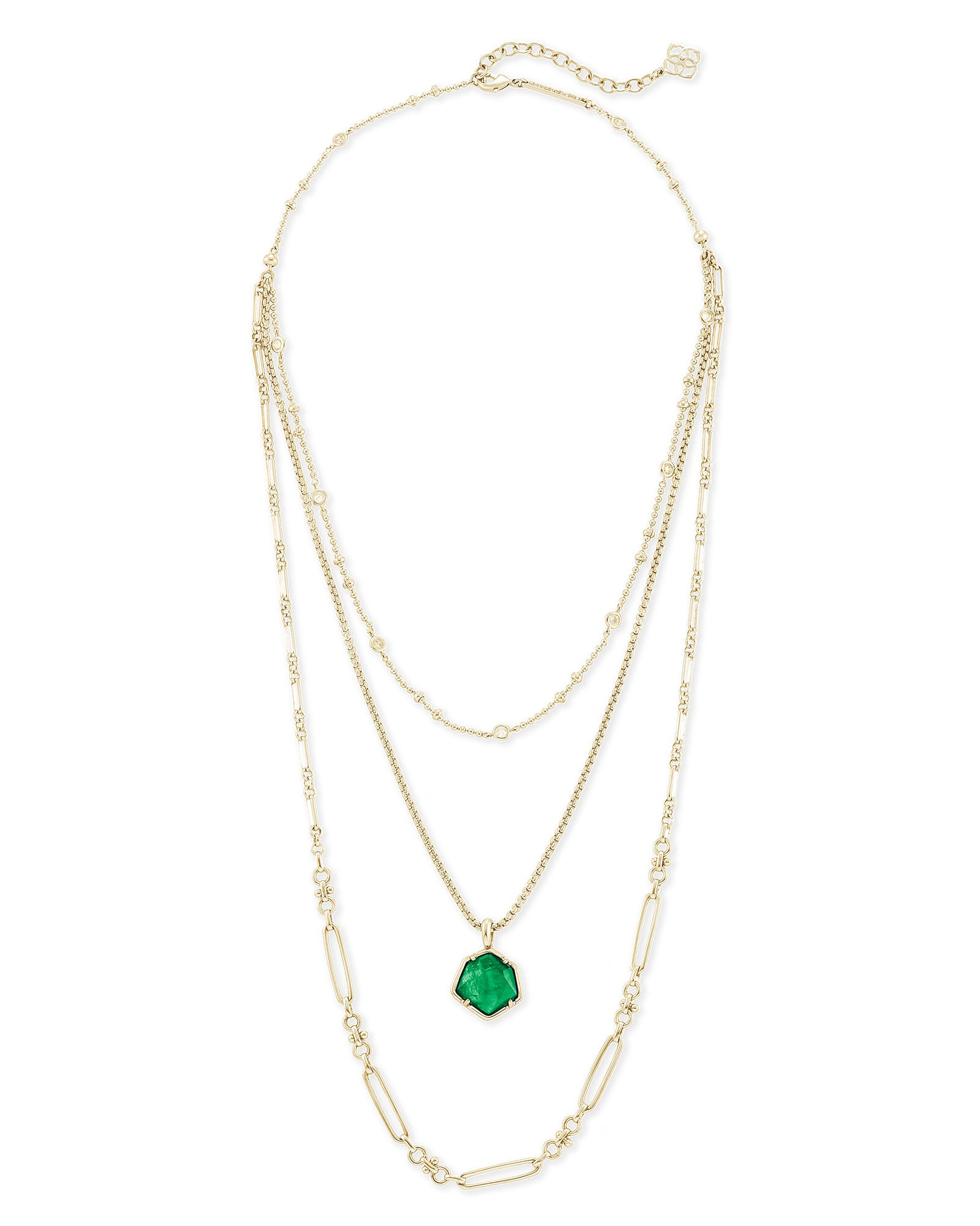 Vanessa Gold Multi Strand Necklace in Jade Green Illusion
