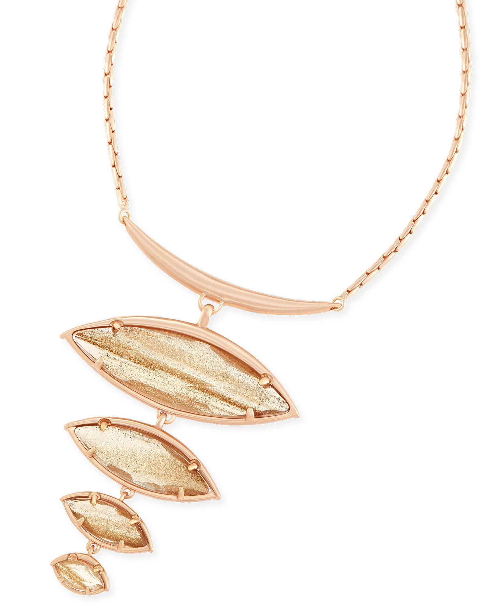 Morris Statement Necklace in Gold Dusted Glass