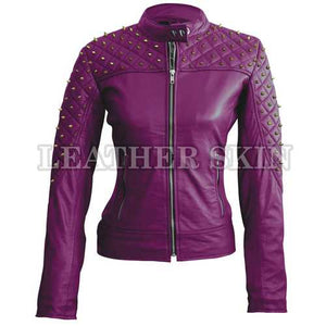 Women Purple Leather Jacket