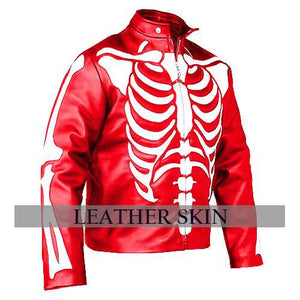 Men Red Skeleton Leather Jacket