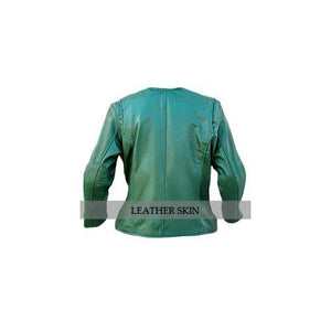 Leather Skin Green Collarless Women Ladies Fashion Stylish Sexy Premium Genuine Leather Jacket