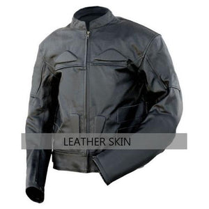 Leather Skin Black Men Mens Biker Motorcycle Jacket - 100% Genuine Leather - All Sizes