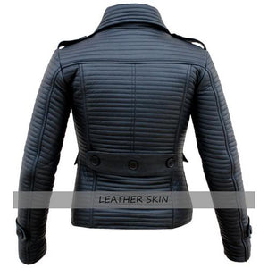 Leather Skin Black Rib Quilted Women Ladies Genuine Leather Jacket