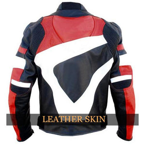Red Motorcycle Biker Genuine Leather Jacket With Black & White Stripes