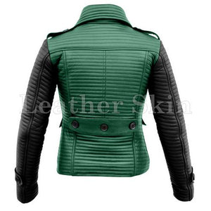 Leather Skin Women Green Rib Quilted Genuine Leather Jacket with Black Sleeves