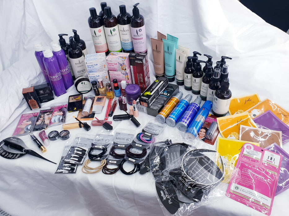 MEGA BEAUTY BOX OF 30 OR 100 PRODUCTS FOR YOUR SKIN HAIR MAKEUP NAILS EYES AND MORE ALL BRANDED