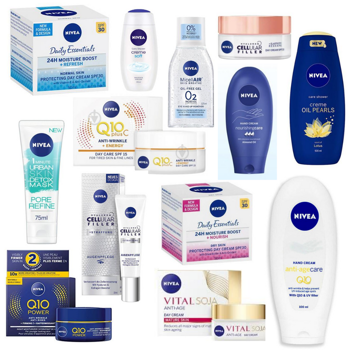 MONEY SAVING BUNDLE DEAL! ASSORTED NIVEA PACK 5 PRODUCTS FOR YOUR SKIN & 16 BATHEFEX EPSOM SALT VITAMIN E SOAP BARS 100G