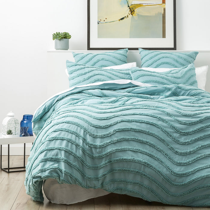 Cloud Linen Wave 100% Cotton Chenille Vintage washed tufted Quilt cover Set