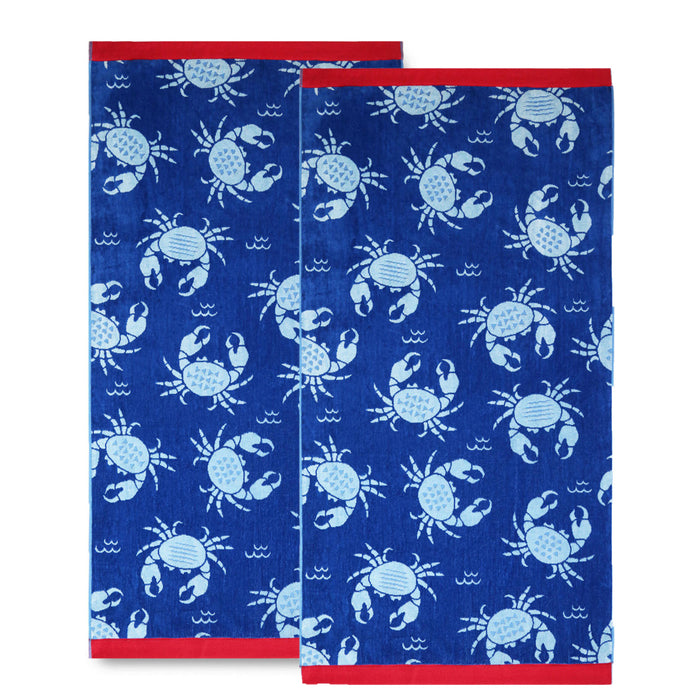 Renee Taylor 100% Cotton Jacquard Velour Heavy Beach Towel 100x180 cms Cool Palms - Pack of 2